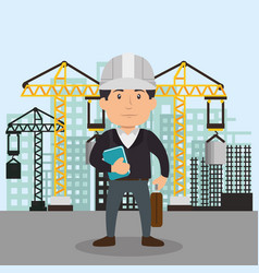 engineer character working icon vector image