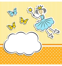 Fairy princess with paper cloud and butterflies vector image