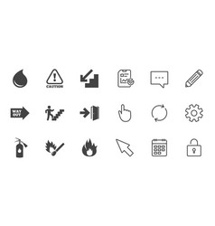 Fire safety emergency icons extinguisher sign vector
