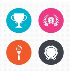 First place award cup icons Prize for winner vector