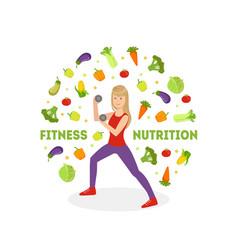 fitness nutrition banner slim girl doing sports vector image