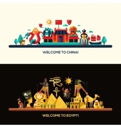 Flat design Egypt China travel banners set vector image