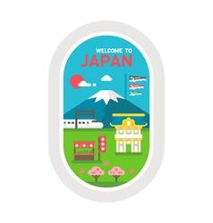 Flat design Japan landmarks vector image