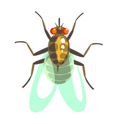 Fly insect colorful cartoon character vector