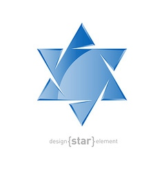 glass star of David on white background vector image