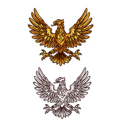 golden gothic eagle heraldic sketch icon vector image