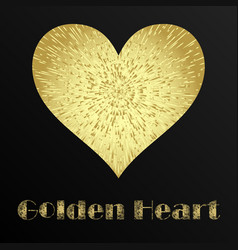 golden metal heart vector image