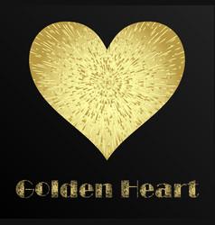 golden metal heart vector image