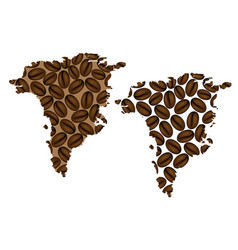 Greenland - map of coffee bean vector