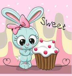 Greeting card cute rabbit with cake vector