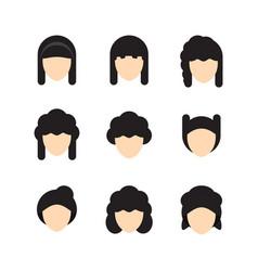 hair styles for women flat design vector image