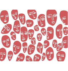 hand-drawn abstract faces black lines form vector image
