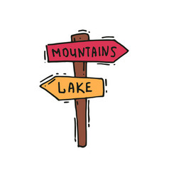 Hand drawn icon of wooden arrow sign post vector
