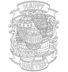 Happy easter background with pattern coloring book vector