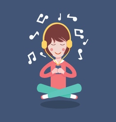 Happy Girl with headphones listening to the music vector image