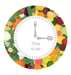Healthy eating food clock vector image