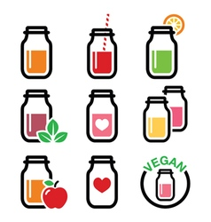 Healthy smoothie drink juice in jar icons set vector