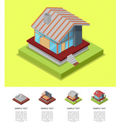 House construction stages isometric poster vector