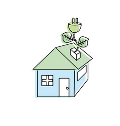 house with power cable with leaves to reduce vector image