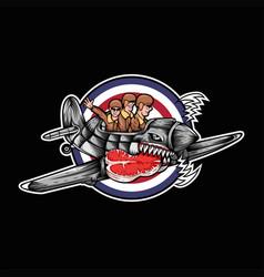 huricane plane meat three man vector image