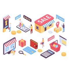 isometric online shopping ecommerce mobile vector image