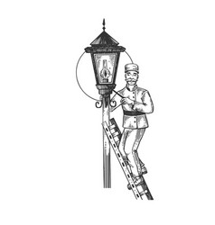 lamplighter man engraving vector image