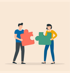 man and woman with puzzle pieces working together vector image