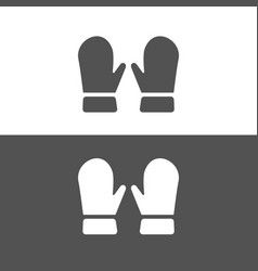 mittens icon on dark and white background vector image vector image