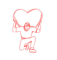 Modern atlas lifting heart on back drawing vector