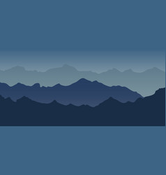 Mountain landscape view blue tone silhouette vector