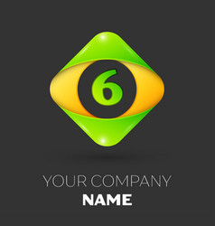 Number six logo symbol in colorful rhombus vector