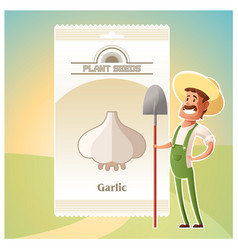 pack garlic seeds icon vector image