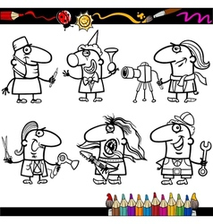 people occupations coloring page vector image