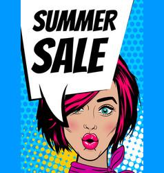 Pop art woman summer sale banner speech bubble vector