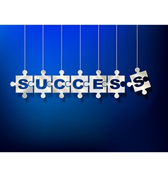 Puzzle pieces with letters composes word success vector