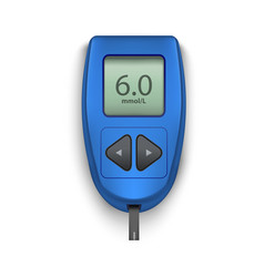 realistic detailed 3d electronic blue glucometer vector image