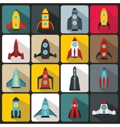 Rocket icons set flat style vector image