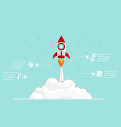 rocket startup launch infographic vector image