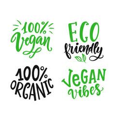 round vegan eco organic green logo sign vector image