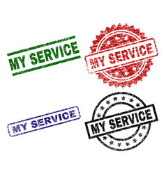 scratched textured my service seal stamps vector image