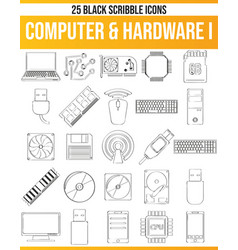 scribble black icon set computer hardware i vector image