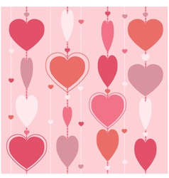 Seamless background with garland of hearts vector image
