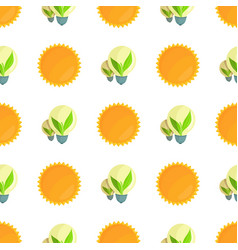 seamless pattern with sun and light bulbs vector image