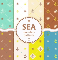 seamless patterns aqua background Set wallpaper vector image