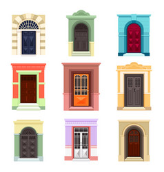 Set of isolated outdoor view on doors vector
