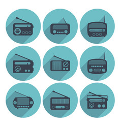 set of radio icons flat style vector image