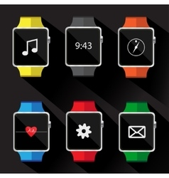 Set of smart watch icon vector image