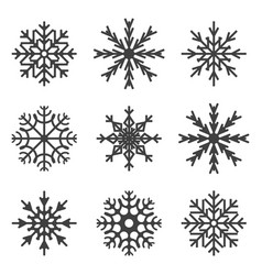 set of snowflake icons on white background vector image