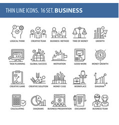 set of thin line flat icons business vector image