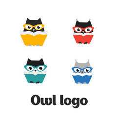 Set owl logo owl icon set flat vector